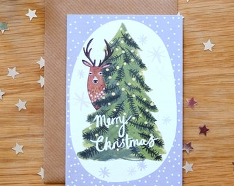 Illustrated Deer and Tree Christmas Card