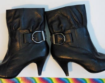 """Early 90's Steve Madden Boots - Black Leather Pixie Boots -Pull-On Ankle Boots w/Adjustable Buckle - Size  7 - Cone Heels 3"""" - Fashion Boots"""