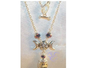 Miniature Witch Ball / Triple Moon Pentacle  Necklace - Rainbow Iridescent Crystal Beads