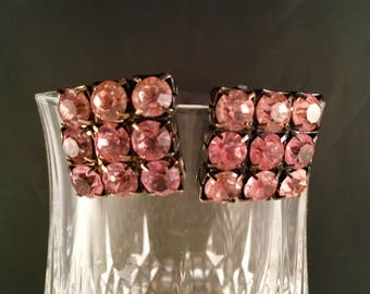 Pink Rhinestone Clip on Earrings, Pronged Faceted Pink Rhinestones, Pink and Black Earrings, .75 Inches Tall & Wide