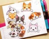 Dog Stickers, Animal Sticker, Kawaii Sticker, Laptop Decal, Waterproof Sticker, Gift for Dog Lover, Resin Supply, Pug Sticker, Corgi Sticker
