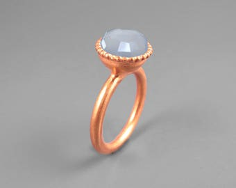 Blue Gemstone Ring 14K Rose Gold Plated, Chalcedony Promise Ring, Statement Ring,  Anniversary gift For Her, Chalcedony Jewelry, Custom Ring