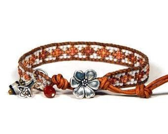 Bead Loom Bracelet Leather Wrap Bracelet Small Rusty Orange Seed Bead Bracelet Boho Bracelet Bohemian Jewelry