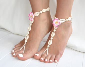 Seashell Jewelry- Foot Jewelry- Seashell Anklet- Barefoot Sandals- Flower and Seashells Sandals- Boho Jewelry- Beach Wedding Barefoot Sandal