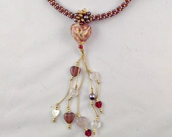 MURANO GOLD FOIL Heart Necklace on Beaded Kumihimo Rope with Small Hearts Dangle