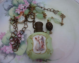 PORCELAIN PERFUME BOTTLE  vintage antique assemblage necklace