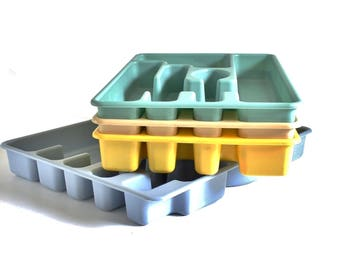 Plastic Flatware Trays Rubbermaid Blue Gray, Yellow, Beige, Mint Green, Silverware Organizer 1980s Kitchen #2921 2922