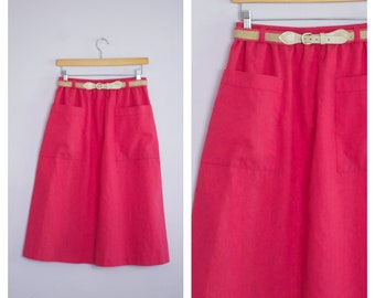 Vintage 1980's Hot Pink Fuchsia Belted Midi Skirt L