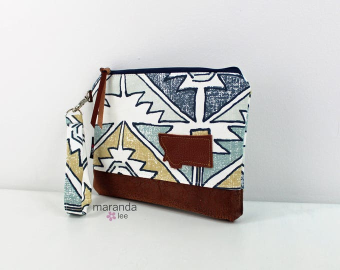 Flat Clutch Large Soul Blue with MT Patch PU Leather READY to SHIp