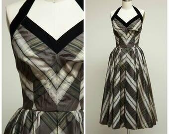 Vintage 1950s Dress • Victim to Charm • Grey Plaid Taffeta Halter 50s Party Dress Size Small