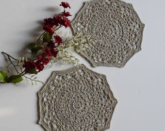 "Crochet Doily - Small Taupe Pair - Lacy Mini 6 1/2"" - Set of 2"
