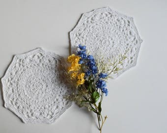 "Crochet Doily - Small White Pair - Lacy Mini 7"" - Set of 2"
