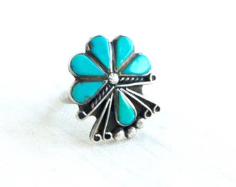Vintage Turquoise Ring Size 4 .75 Sterling Silver Southwest Flower Succulent Boho Jewelry Native American Design
