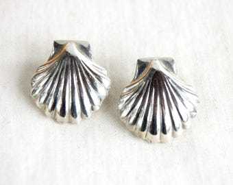 Sterling Silver Shell Earrings Vintage Mexican Seashell Post Studs Sterling Beach Posts Ocean Statement Jewelry Taxco Mexico
