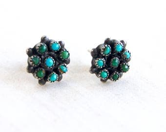 Turquoise Cluster Earrings Posts Studs Vintage  Southwestern Blue Green Stone Sterling Silver Flower Stud