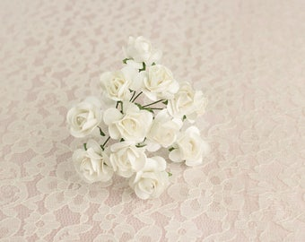 12 Paper Roses / One Bouquet /  0.75 inches 20 Mm / SOFT WHITE / 3/4 Inches / Artificial Flowers / Bridal / Wedding Favors / Millinery
