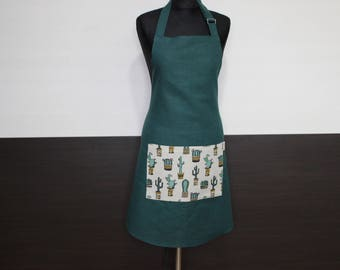 Green apron with cacti, Ready to Ship Kitchen Apron, Cactus pocket on green apron, Christmas Gift for cook or baker, Pinafore with Cacti
