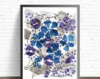 Watercolor Flower Print. Floral poster. Floral watercolor print. Abstract flowers. Floral print wall art. Floral painting print