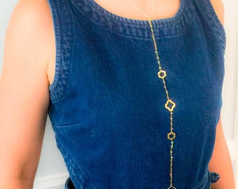 Unique Body Chain Jewelry/ Gold Flower Body chain with gemstone beads