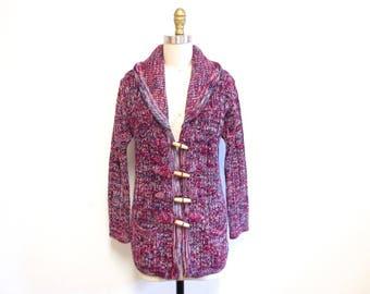 Vintage 1970s Cardigan | Space Dye Knit 1970s Swearter | size medium