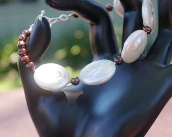 Freshwater Coin Pearls with Black Pearl Accents