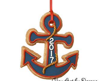 Anchor cookie ornament keepsake