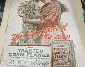 1907 Kellogg's Corn Flakes Ad ~ Sweetheart of the Corn