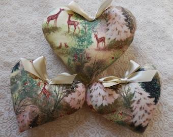 Handmade Primitive Winter Forest Heart Tucks Deer Bowl Fillers Home Cabin Decor