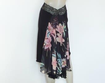 Stunning Orchid Print Chiffon Cascade Style Satin Skirt Argentine Tango  Skirt Size US 4 and 6 / EU 34 and 36  Milonga  adorable Jupe