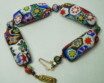 1940s Murano Millefiori Venetian Glass Bead Bracelet Large Curved Beads Italian Moretti
