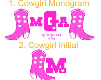 Cowgirl Country Monograms and Initials (bachelorette party stickers)