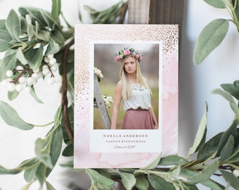 Editable Template - Young Wild & Free Graduation Photo Card Announcement