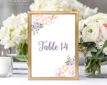 Reception Table Numbers - Lavender Garden