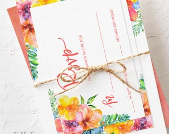Semi Custom Wedding Invitation Suite - Tropical Sunrise (Style 13667)