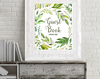 Printable Reception Sign/Guest Book - Breezy Leaf (13701)