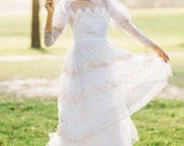 Vintage 70's Boho Lace Wedding Gown with High Collar and Puffed Sleeves