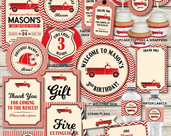 Fire Truck Birthday Decorations, Firefighter Birthday Party, Fireman Birthday, Personalized, Printable PDF Files