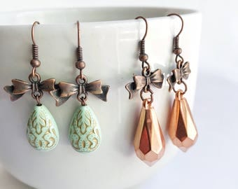 bow earrings, bead statement earrings, copper and turquoise, bohemian, dangle earrings, vintage beads, turquoise earrings, shabby chic
