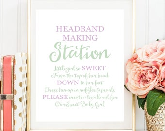 Headband Sign, Headband Station Sign, Headband Baby Shower Sign, Baby Shower Printable, Purple and Mint Baby Shower BB
