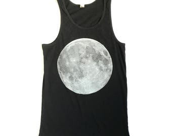 BLACK tank top FULL MOON men's unisex slouchy S, M, L handmade silkscreen print