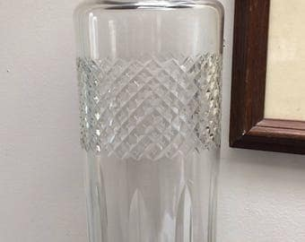 Vintage 1960s Glass and Chrome Cocktail Shaker - Large Glass Cocktail Shaker - 1960s barware - Vintage Cocktail Shaker - Vintage Barware