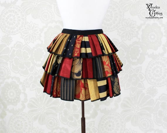 "Steampunk Ruffle Bustle Top Skirt - 3 Layer, Sz. S - Black, Red, & Gold Patchwork - Best Fits up to 42"" Waist or Upper Hip"