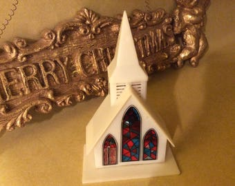 """Electronic Musical Church Christmas Ornament Eight Christmas Songs Stained Glass Windows 6"""" Tall Christmas Chimes"""