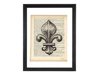 Fleur de lis print-fleur de lis dictionary print-french print-french decor-vintage print-fleur de lis-Upcycled Vintage Dictionary art-D226