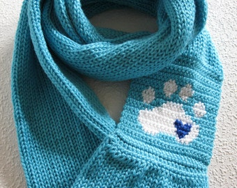 Knit Paw Print Infinity Scarf. Turquoise blue knitted circle scarf with a white paw print and small blue heart. Long knit cowl scarves.
