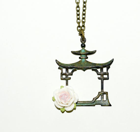 Pagoda and Paper Rose Necklace