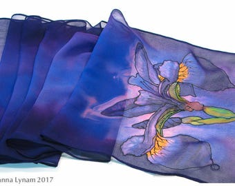 "Painted silk scarf. Iris Silk Scarf. 11x59"". Purple silk scarf. Iris Scarf~Handpainted Silk Scarf~Hand painted Silk Scarf~Painted silk scarf"