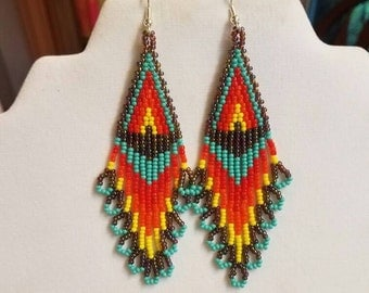 Native American Beaded Flame Earrings Turquoise and Peacock Red, Orange, Yellow Southwestern, Boho, Hippie Rainbow Great Gift Ready to Ship