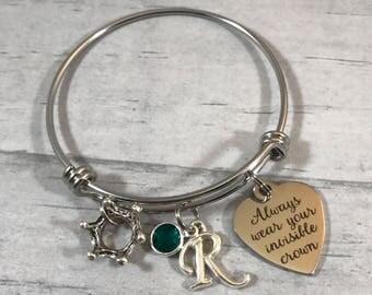 Little Girls Princess Bracelet. Girls Bangle Bracelet. Charm Bracelet. Always wear your invisible crown. Ages 3-9. Bangle for Little Girls.