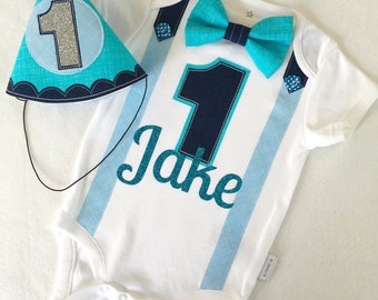 Baby Boys First Birthday Outfit  Blues Theme